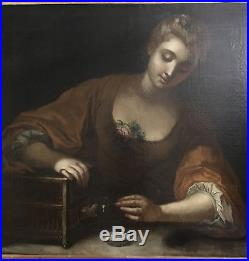 HST peinture française XVIIIème 18ème femme à la cage ölgemälde huile baroque