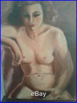 HUILE SUR TOILE MAROUFLEE PORTRAIT DE FEMME NUE André FAVORY 1888-1937 Bénézit
