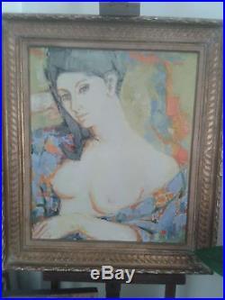 HUILE SUR TOILE Portrait de femme au buste dénudé, signée Guily JOFFRiN, cotée