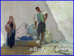 H. Richebé 1871-1964. Grand & Lumineux Orientaliste. Fontaine Animée A Kairouan