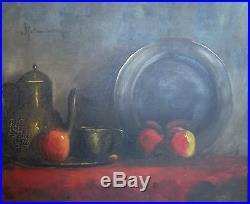 Haralambos POTAMIANOS (1909-1958) huile sur toile nature morte