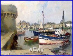 Henri MILOCH (1898-1979) Huile sur carton toilé signée datée Ville close