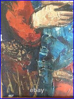 Henry Maurice d'ANTY (1910-1998) Expressionniste Maternité Huile sur toile Signé