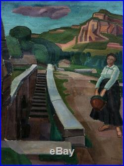 Henry Ramey 1890-1978. Grand & Beau Paysage Cubiste Du Tarn. Femme A La Cruche