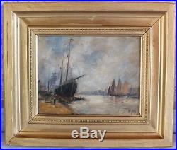 Hst huile sur toile marine bateau signée Dupuy peinture tableau (1)