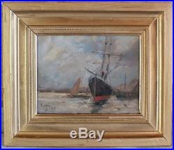 Hst huile sur toile marine bateau signée Dupuy peinture tableau (2)
