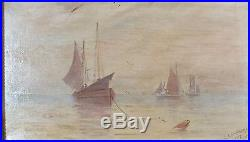 Hst huile sur toile marine signée G. Lamarche 1917 (1)
