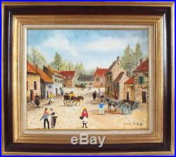 Hst huile sur toile peinture de Claude Tabet petit village certificat tableau