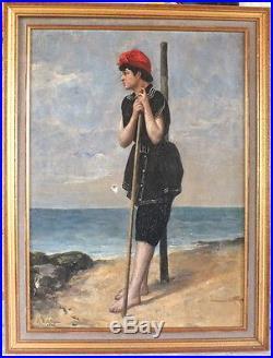 Hst huile sur toile peinture de Paul Sébilleau 1903 femme en costume de bain