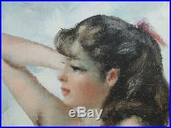Huile Sur Toile Femme Nue Par Igor Talwinski 1960 Cadre D'origine (d300)