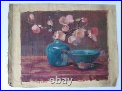 Huile Sur Toile Guillot Rafaillac Nature Morte Bouquet De Fleurs Et Bol G2164