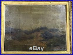 Huile Sur Toile Signé Weisset Decor De Paysage Bien Encadré 56 CM X 36 CM