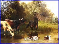 Huile Sur Toile Signée Eduard Götzelmann (1830-1903) Les Vaches S'abreuvant