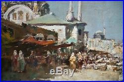 Huile-peinture-e. Dufeu-ecole Orientaliste-orientalisme-istambul-constantinople