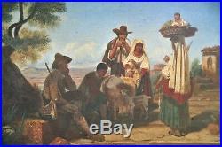 Huile-peinture-italie-naples-scene De Genre-sicile-xix Eme-paysage Anime-1830-40