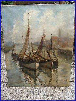 Huile sur Toile Marine par M Blandian Début XX ème Siècle