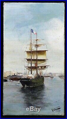 Huile sur toile 22x12 cm voilier deux mâts signée 1907 Marine port mer bateau
