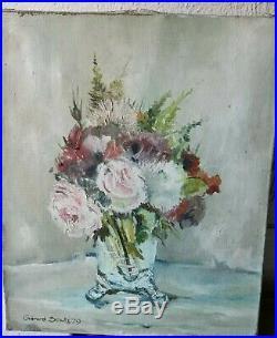 Huile sur toile Bouquet De Fleurs Roses Pivoines peinture tableau nature morte
