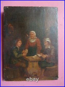 Huile sur toile JOUEURS DE CARTES Ecole Flamande XVIIIe