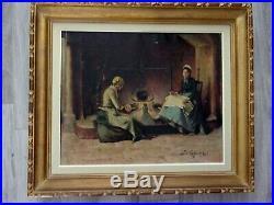 Huile sur toile LEFEBVRE Femmes au coin du feu Ecole française XXe