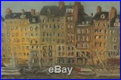 Huile sur toile Port de Honfleur peint et signé par J. Marcassin