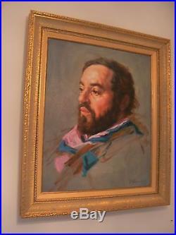 Huile sur toile Portrait Luciano PAVAROTTI