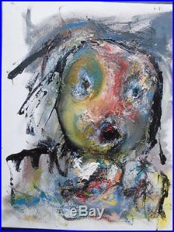 Huile sur toile Portrait jaune 2005. Richard LENETSKY. Art brut/abstrait