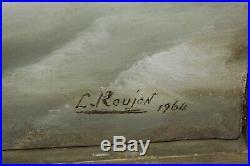Huile sur toile Tempête en mer peint et signé par L. Roujon en 1964