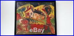 Huile sur toile Thierry Loulé Paysage tourmenté 15 figure 65x54cm