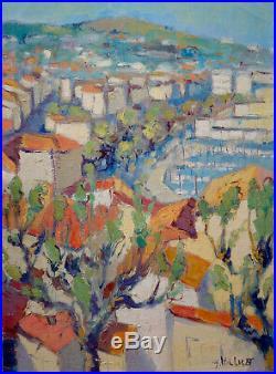 Huile sur toile Vue de Cannes Yves HILLIGOT 1928- signée en bas à droite