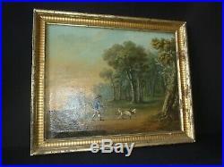 Huile sur toile XVIII peinture XVIII chasse a cour XVIII Bertaux 1774 tableau