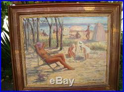Huile sur toile Yvette Schneider superbe tableau scène de plage -cote artprice