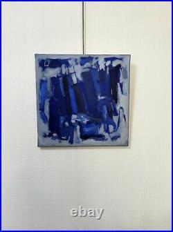 Huile sur toile abstraite bleue signée Daniel PRAT 1997 peinture abstrait