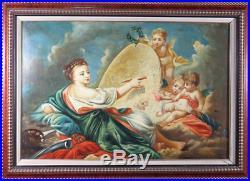 Huile sur toile ancienne allégorie de la peinture et des arts classique