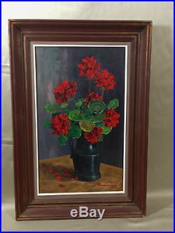 Huile sur toile de Guy Pennamen bouquet géraniums peintre breton tableau
