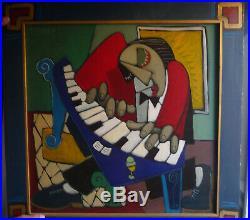 Huile sur toile le pianiste signée Thierry MIRAMON, format 60x60 Très bon état