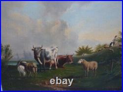 Huile sur toile paysage vache signée Audiberty fin 19e impressionnisme Auvergne