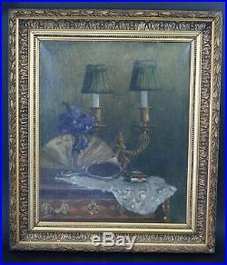 Huile sur toile peinture XIXeme nature morte lampe évantail miroir BAYOL