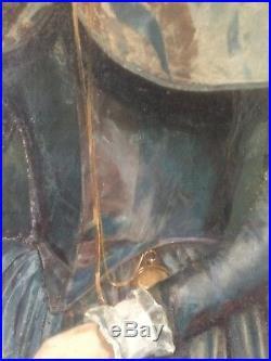 Huile sur toile peinture ancienne dame noble XVIII 81.5 cm100 cm HST 18eme