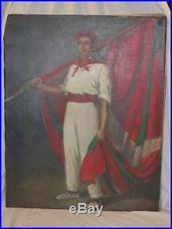 Huile sur toile signé D Pouillaude des années 40/50 Basques portant L'IKURRINA