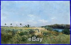 Huile sur toile signée datée 1890 paysage MOISSET impressionnisme peinture
