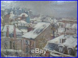 Huile sur toile, toits (de Paris) sous la neige 48 cm x 39,5 cm