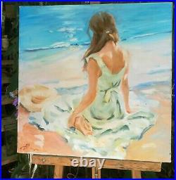Huile /toile Jeune femme sur la plage signée Alexander SHEVCHUK