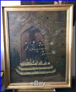 Huile toile peinture Soldats militaria à identifier Charles le Tourneur XIX 1885