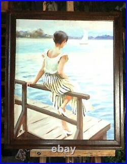 Huile /toile tableau Jeune femme assise signée Alexander SHEVCHUK