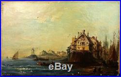 ISABEY dans le goût de. Scène de Port Peinture HST XIXe Cadre Normandie