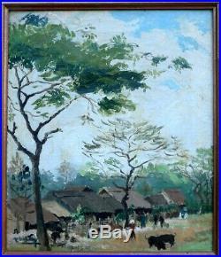 Indochine 1950. Beau Paysage De Village Animé. Vietnam- Laos- Cambodge. Signé