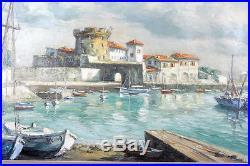 JIVA R. W. JIVANOVITCH Le fort SOCOA le port de Ciboure GRAND FORMAT! 1955