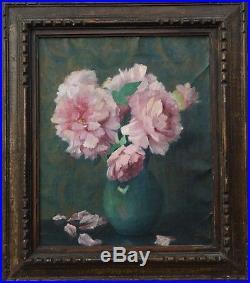 J. JAMEL BOUQUET DE PIVOINES ca 1930 huile sur toile 46 x 38 cm