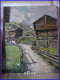 J. Wagner Peinture Huile Sur Toile Signee Paysage Montagne ...